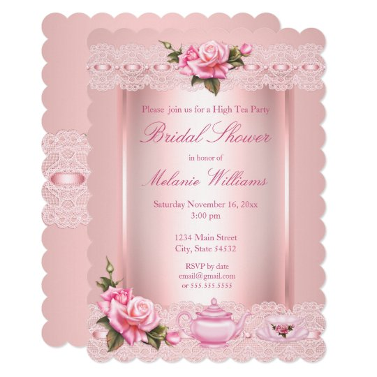 Bridal Shower Floral Pink Roses High Tea Party Invitation