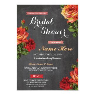Bridal Shower Floral Red Roses Chalk Invitation