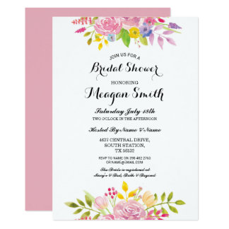 Bridal Shower Flowers Pink Pretty Invitations