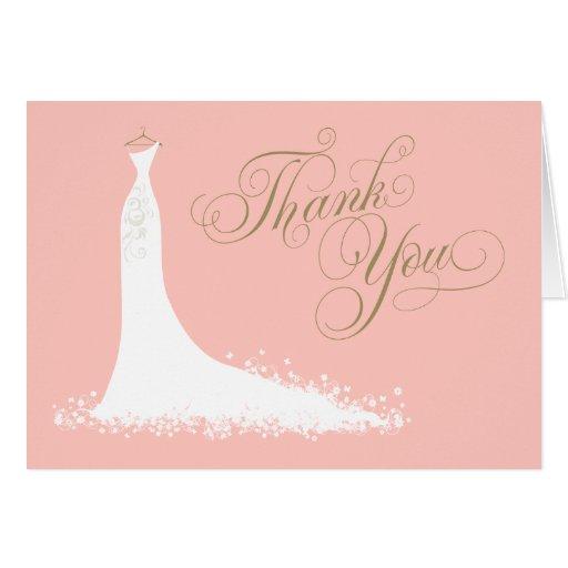 Bridal Shower Folded Thank You Card Wedding Gown Zazzle