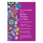 Bridal Shower - Fun Floral Pattern - magenta Custom Announcements