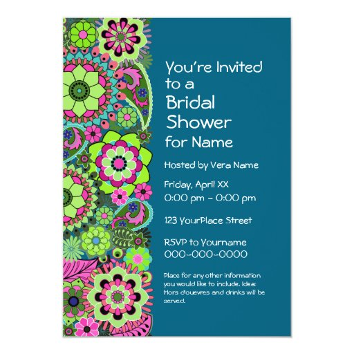 Bridal Shower: Fun Floral Pattern pink green teal Invite ...