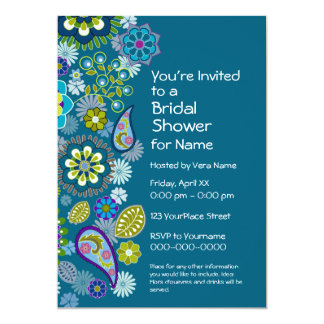 Bridal Shower - Fun Floral Pattern - teal blue Card