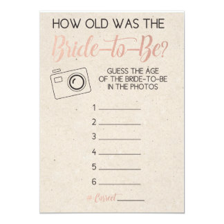 Bridal Shower Game- Guess Bride's Age from Photo Card