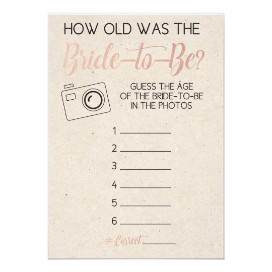 Bridal Shower Game Guess Brides Age From Photo Card Zazzlecom - Bridal shower game templates