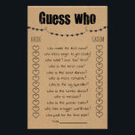 """Bridal Shower Game Guess Who Card<br><div class=""""desc"""">Rustic Bridal Shower Game """"Guess Who"""" template features a brown base for a rustic look. To access advanced editing tools,  please go to """"Personalize"""",  scroll down and press the """"click to customize further"""" link. For more matching designs click the link """"Other products from this collection"""".</div>"""