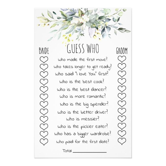 Bridal Shower Game Guess Who Card