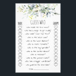"""Bridal Shower Game Guess Who Card<br><div class=""""desc"""">Watercolor greenery template. Bridal Shower Game Guess Who. Make it your own by adding your own text, like instead of """"groom"""" and """"bride"""" type the happy couple's names and/or your own questions. You can also add text and/or personal photos on the back. To access advanced editing tools, please go to...</div>"""