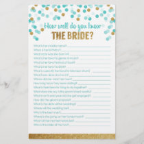 Bridal Shower Game How well do you know the bride?