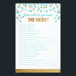 """Bridal Shower Game How well do you know the bride? Stationery<br><div class=""""desc"""">How well do you know the bride? Ask your guests to answer questions about the new bride to be. This game has a touch of glamour with gold glitter and aqua confetti.</div>"""