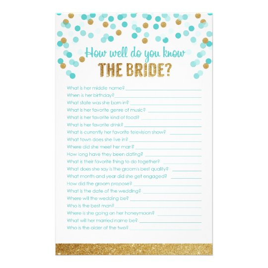 Bridal Shower How Well Do You Know The Bride Stationery