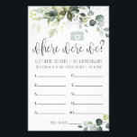 """Bridal Shower Game Where Were We Card<br><div class=""""desc"""">Watercolor greenery template. Display 10 photos of the couple traveling and have the Guests guess where the couple is in each photograph. The person with the most correct answers is the winner!</div>"""