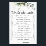 """Bridal Shower Game Would She Rather Card<br><div class=""""desc"""">Watercolor greenery bridal Shower game would she rather template. Make it your own by adding your text (and personal photos). To access advanced editing tools,  please go to """"Personalize"""",  scroll down and press the """"click to customize further"""" link.</div>"""