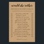"""Bridal Shower Game Would She Rather Card<br><div class=""""desc"""">Bridal Shower game would she rather? template features a brown base for a rustic look. All text is editable and to access advanced editing tools,  please go to """"Personalize"""" and then """"click to customize further"""" link.</div>"""