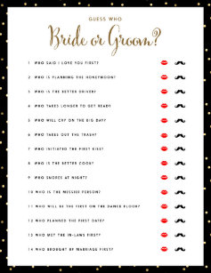 bridal shower games guess who bride or groom game