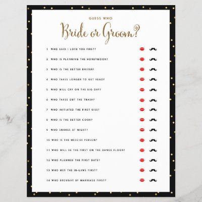 bridal shower games who knows the bride best zazzlecom