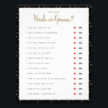 """Bridal Shower Games Guess Who Bride or Groom Game Flyer<br><div class=""""desc"""">Simple black and white layout with gold polka dots, &quot;Guess Who&quot; questionnaire game with a red lips or black mustache to circle the answer. Make sure to ask the bride and groom the questions beforehand! Backer color is customizable. Don&#39;t want to print your own bridal shower games, Use these flyers...</div>"""