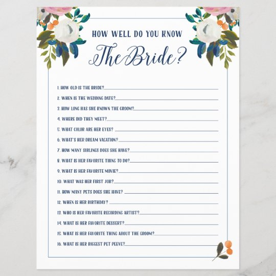 Bridal Shower Games How Well Do You Know The Bride