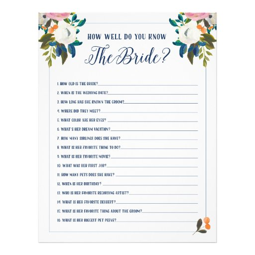 Bridal shower games how well do you know the bride flyer zazzle