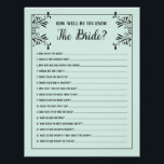 """Bridal Shower Games How Well Do You Know The Bride Flyer<br><div class=""""desc"""">Updated from Typo on 5/27/16 Custom Color Bridal Shower game to match your bride&#39;s wedding color scheme. Don&#39;t want to print your own bridal shower games, Use these flyers instead. Order quantity as needed; Bridal Shower Game &quot;How Well Do You Know The Bride?&quot; You can also change the flyer color...</div>"""