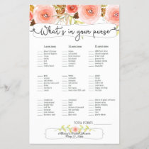 Bridal Shower Games purse / bingo, blush floral