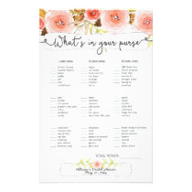 Bridal Shower Games purse / bingo, blush floral Flyer
