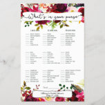 """Bridal Shower Games purse / bingo, burgundy floral<br><div class=""""desc"""">This two-sided game sheet can be personalized by adding the bride&#39;s name and shower date.  Please check out this entire collection to see other matching pieces!</div>"""
