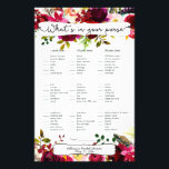 """Bridal Shower Games purse / bingo, burgundy floral Flyer<br><div class=""""desc"""">This two-sided game sheet can be personalized by adding the bride&#39;s name and shower date.  Please check out this entire collection to see other matching pieces!</div>"""
