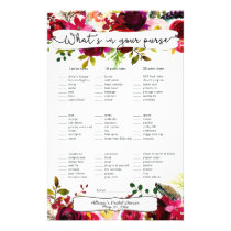 Bridal Shower Games purse / bingo, burgundy floral Flyer