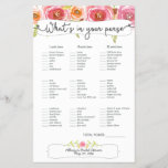 """Bridal Shower Games purse bingo, pink floral 3605<br><div class=""""desc"""">This two-sided game sheet can be personalized by adding the bride&#39;s name and shower date.  Please check out this entire collection to see other matching pieces!</div>"""