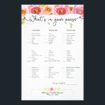 """Bridal Shower Games purse bingo, pink floral 3605 Flyer<br><div class=""""desc"""">This two-sided game sheet can be personalized by adding the bride&#39;s name and shower date.  Please check out this entire collection to see other matching pieces!</div>"""