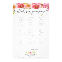 Bridal Shower Games purse bingo, pink floral 3605 Flyer