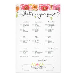 Bridal Shower Games purse / bingo, pink floral Flyer