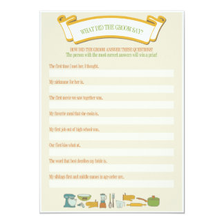 Bridal Shower Games: What Did the Groom Say? Card