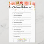 """Bridal Shower Games who knows the bride best<br><div class=""""desc"""">This two-sided game sheet can be personalized by adding the bride&#39;s name and shower date.  Please check out this entire collection to see other matching pieces!</div>"""