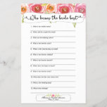"""Bridal Shower Games who knows the bride best 3605<br><div class=""""desc"""">This two-sided game sheet can be personalized by adding the bride&#39;s name and shower date.  Please check out this entire collection to see other matching pieces!</div>"""