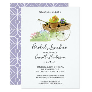 Bridal Shower Garden Party Pretty Flower Cart Card