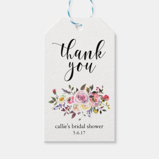 bridal shower gift tags for party favors floral