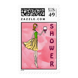 Bridal Shower Girly Wine and Cheese Postage Stamps