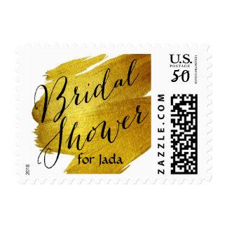 Bridal Shower Gold Foil Paint Brush Stroke Postage
