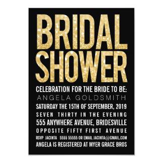 """Bridal Shower Gold Glitter Black & White Invite 4.5"""" X 6.25"""" Invitation Card"""