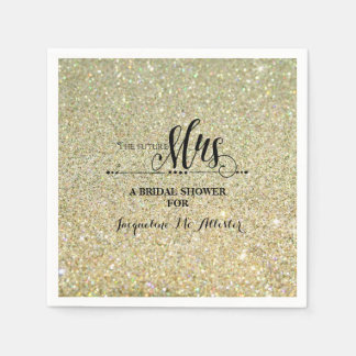 Bridal Shower Gold Glitter Future Mrs. Modern Fab Paper Napkin