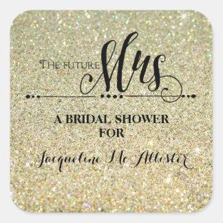 Bridal Shower Gold Glitter Future Mrs. Modern Fab Square Sticker