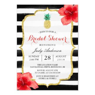 Bridal Shower Gold Glitter Pineapple Red Hibiscus Card