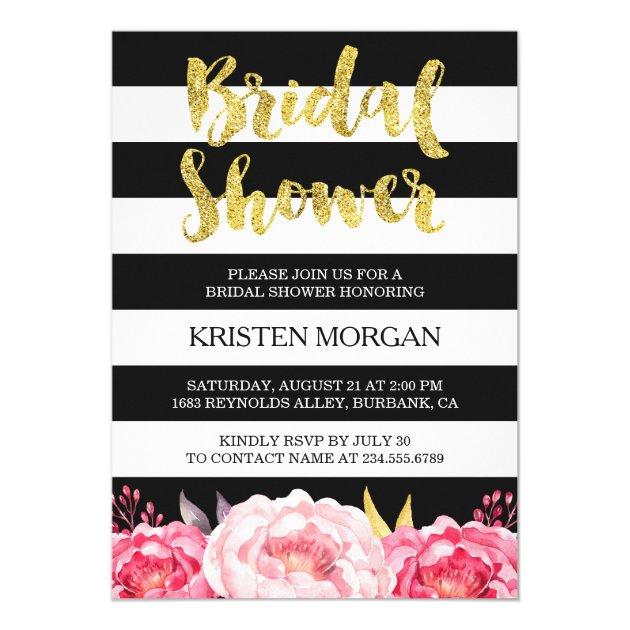Bridal Shower Gold Glitter Pink Floral Stripes Card