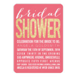 Bridal Shower Gold Glitter Salmon Party Invites