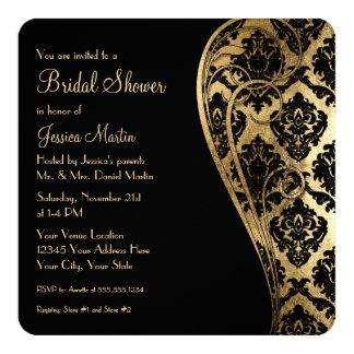 "Bridal Shower Gold Leaf Look Damask Scroll Invite 5.25"" Square Invitation Card"