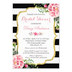 Black and white bridal shower invitations announcements zazzle bridal shower gold pink floral black white stripes card filmwisefo