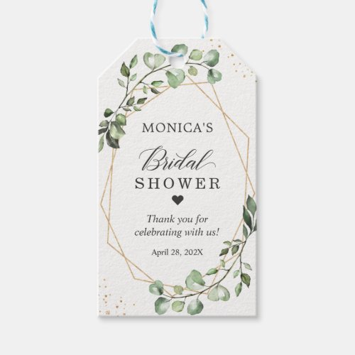 Bridal Shower Greenery Eucalyptus Gold Frame Gift Tags