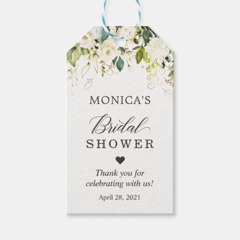 Bridal Shower Greenery White Rose Floral Gift Tags